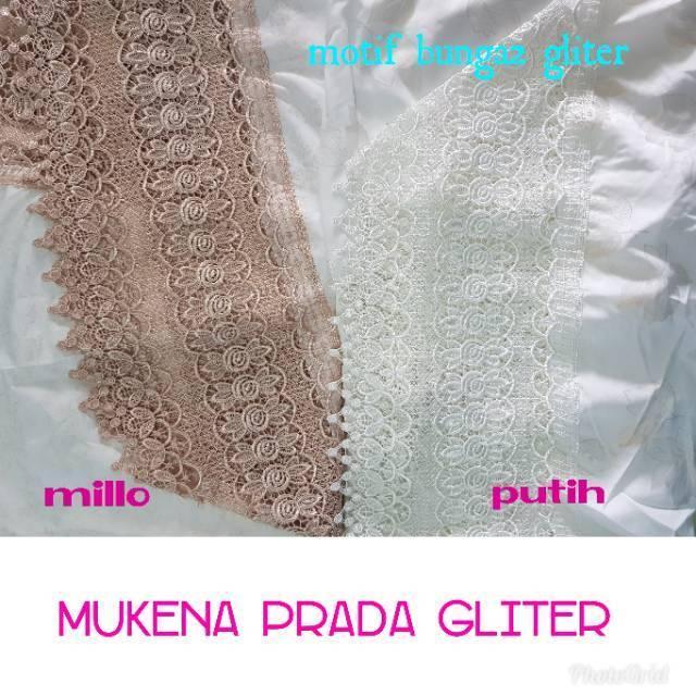 mukena prada gliter | SEMI SUTRA QOIL | ada renda putih dan millo PUTIH