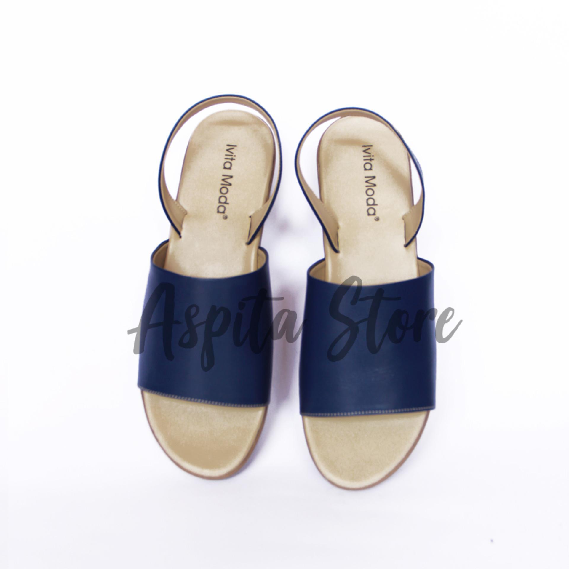 Sandal Kulit Sandal Tali Biru Wanita Trendy Asli Garut Premium Murah - Aspita Store