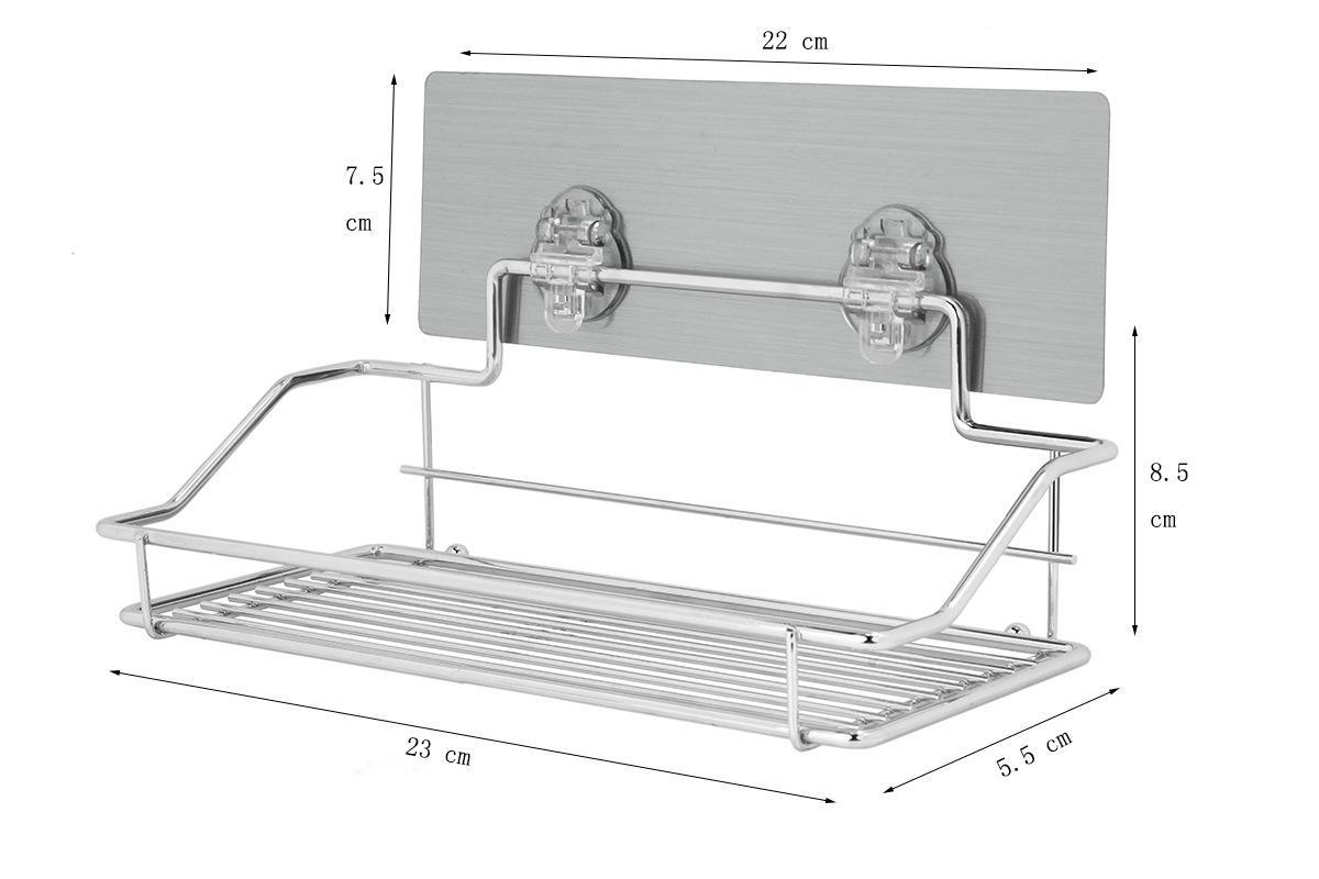 Stainless Steel Traceless Adhesive Tape Storage Holder Shelf Hanging Organizer Basket Bathroom Accessories