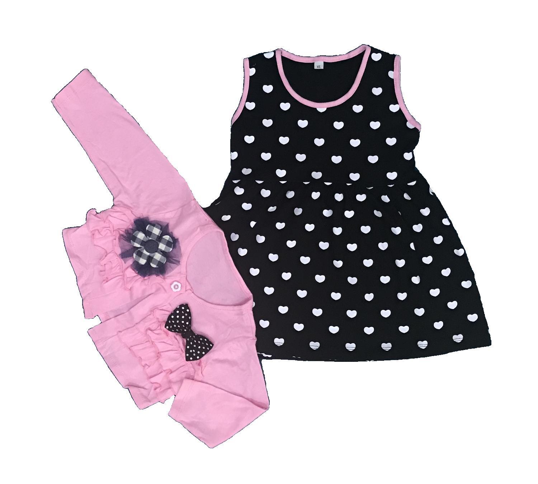 BAYIe - Baju Bayi Dress + Rompi Anak Perempuan motif HATI BROSS YUNISA / Pakaian anak cewek umur 1 - 2,5 tahun