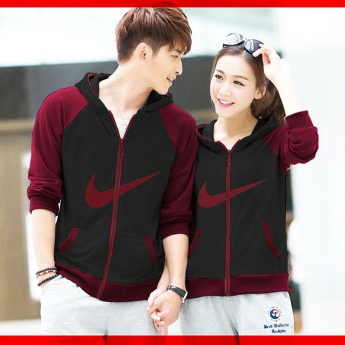 Harga Promo [ Cp Jkt Nike Marun Cl ] Pakaian Couple Jaket Hitam Moroon Cfmkhi