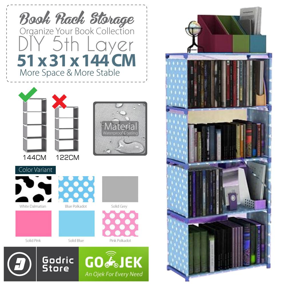 Godric Rak Buku Portable SINGLE / Lemari Serbaguna 5 Layer 4 Susun 50.5 x 30.5 x 144 CM