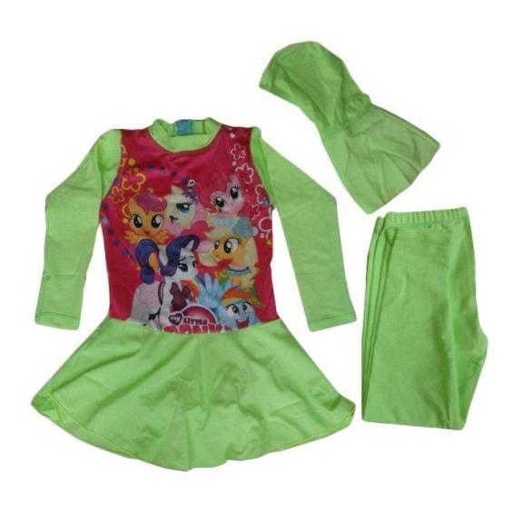 PROMO TERBAIK - Baju Renan Anak Muslim Gambar Little Pony untuk Anak TK Warna Tosca - 050