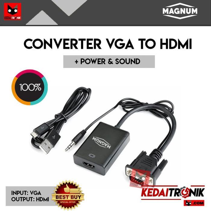 Converter VGA To HDMI MAGNUM Adapter+USB Power Audio HDTV GOLD Kabel