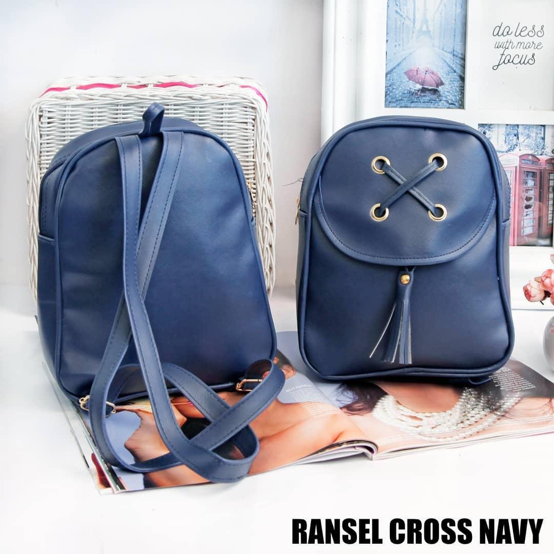 Gambar Produk Rinci Tas Wanita Ransel Cross - Navy Terkini