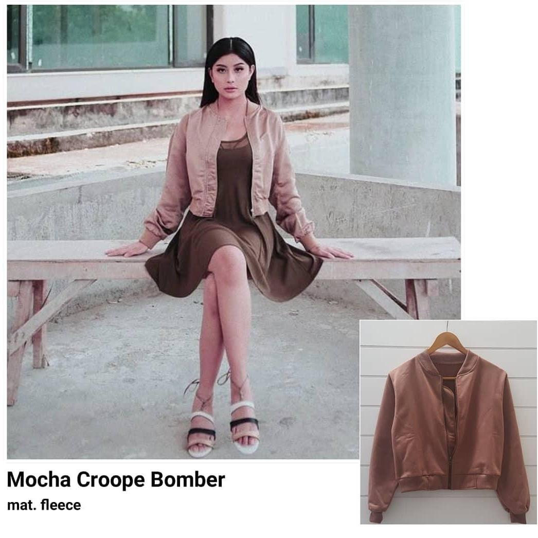 Awkarin Mocha Crop Bomber - Jaket Bomber Wanita Crop
