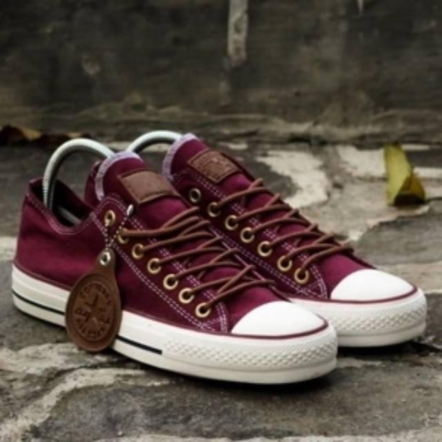 FLASH SALE Sepatu Converse All Star Pria Wanita Cewek Cowok Tali Tan Ct Ox Low Pendek Import Marun