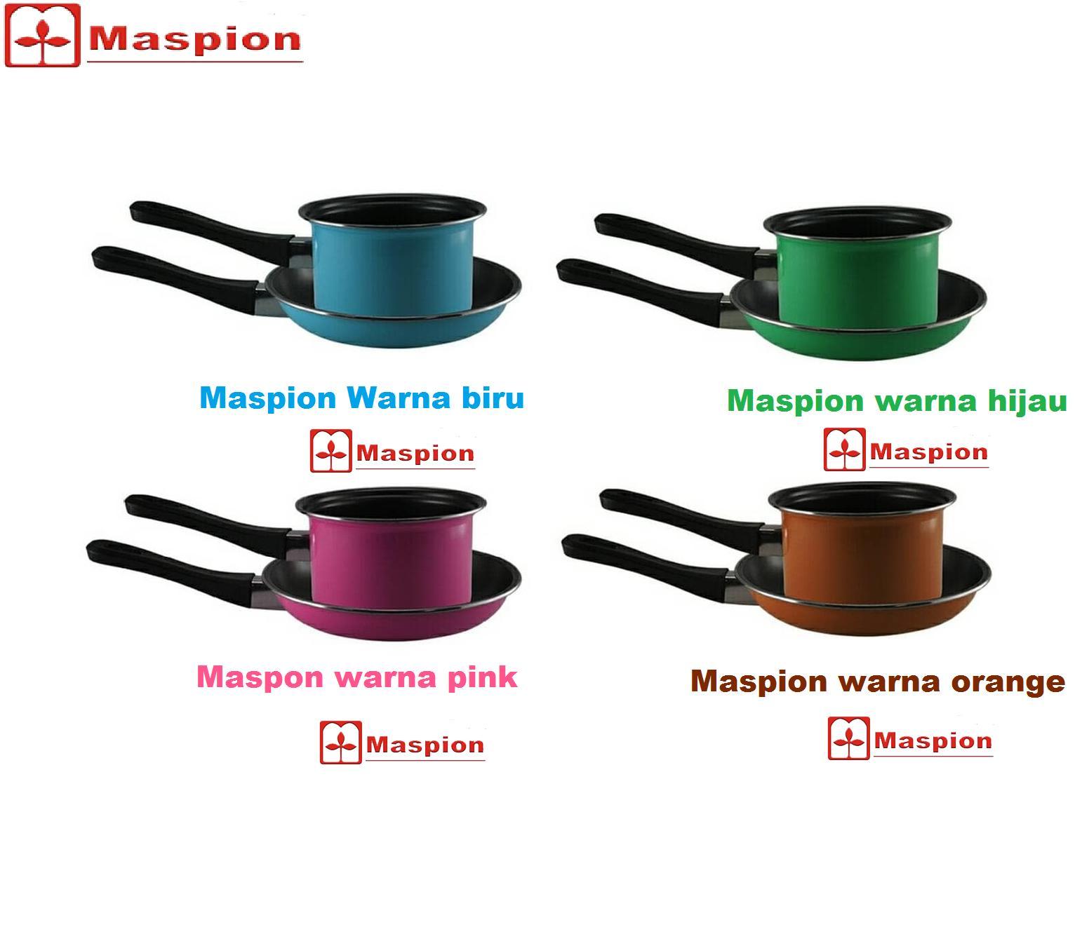 Maspion Teflon Frypan DAN Fancy (WARNA) PAN Set 2pcs frypan 20 cm & milkpan 14 cm - Friypan Anti lengket