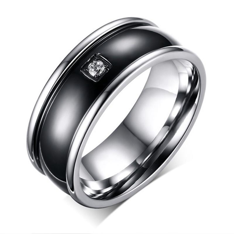 Wanita Cincin Berlapis Emas Titanium Steel dengan Epoxy Cincin untuk Wanita Fashion Jewelry Black