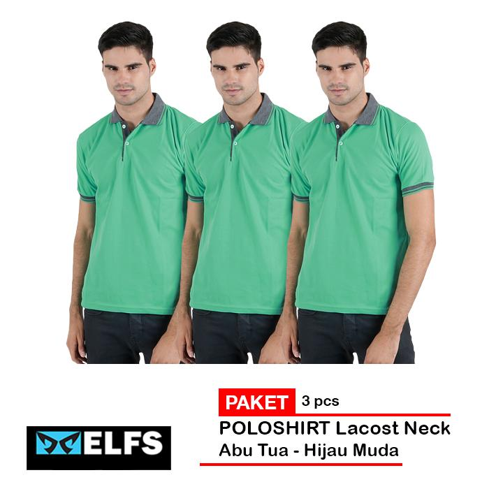 Elfs Shop - PAKET 3 PCS Kaos Polo Shirt Pria Baju Kerah Lakos Abu Tua  - Abu Muda