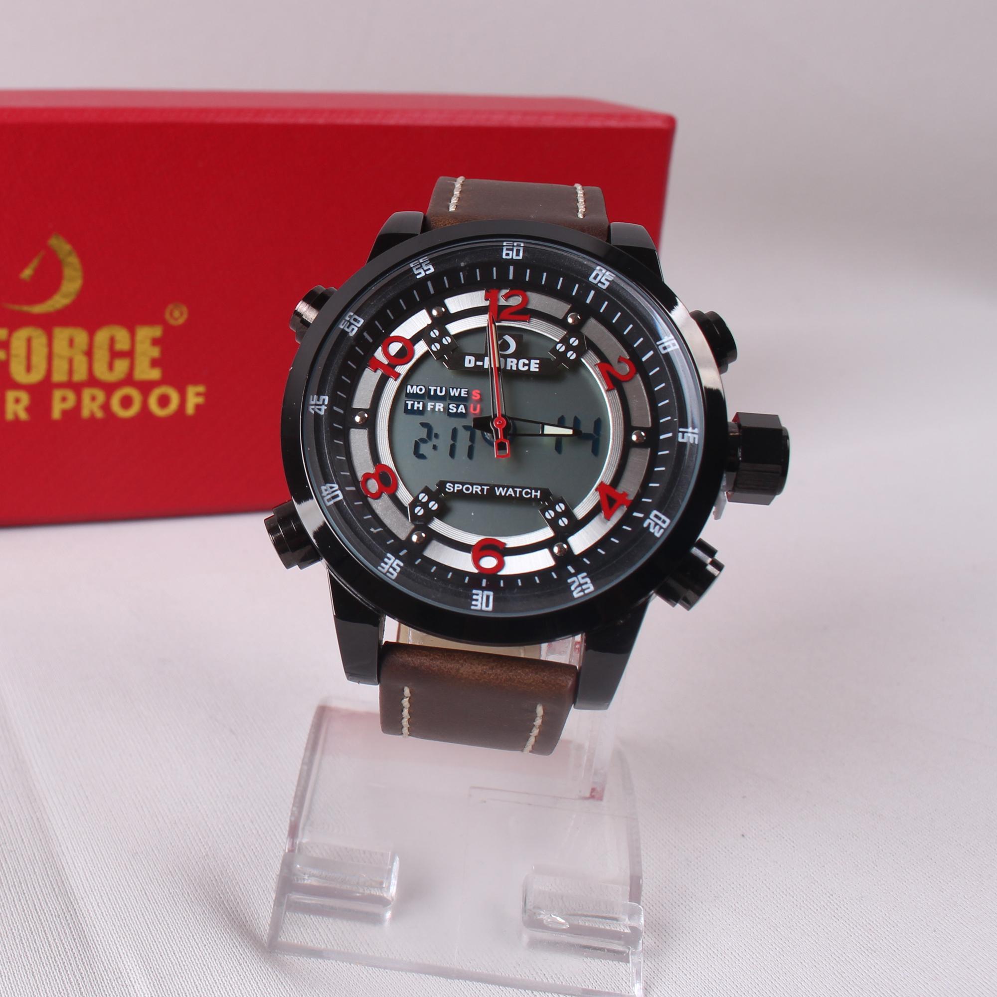 Jam Tangan Fashion Pria Casual D-Force Leather Strap Jam Tangan Cowok Kerja Kantoran 1502