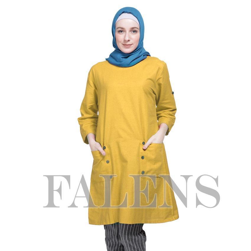 Falens Gina Tunik Atasan wanita Baju Blouse cewek Fashion Bagus Cantik Bahan Adem - Yellow kuning