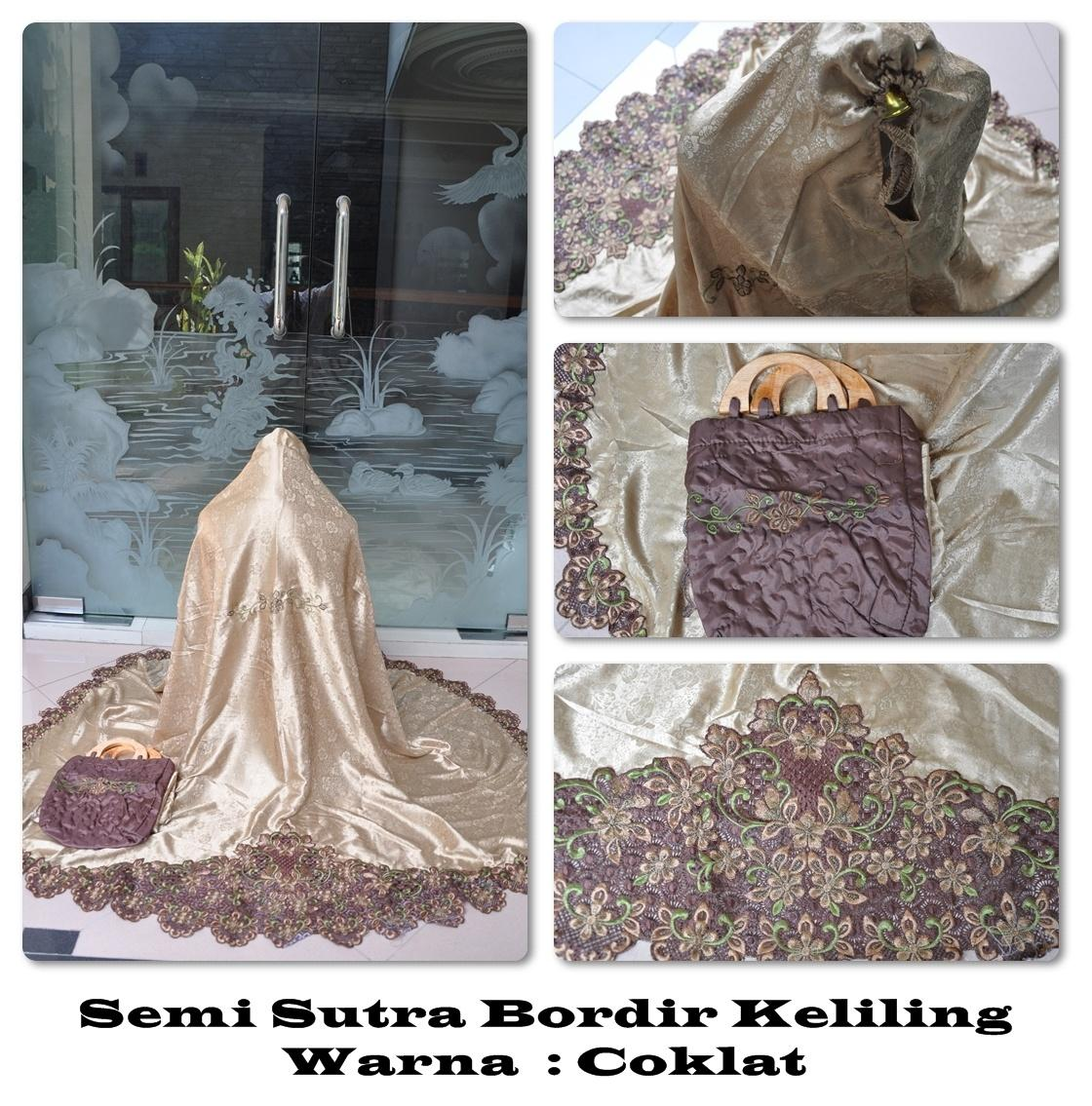 viza - MUKENA DEWASA SEMI SUTRA DOFF BORDIR KELILING (COKLAT)baju muslim wanita / baju muslimah / baju muslim wamita terbaru / baju muslim murah TERBARU!!