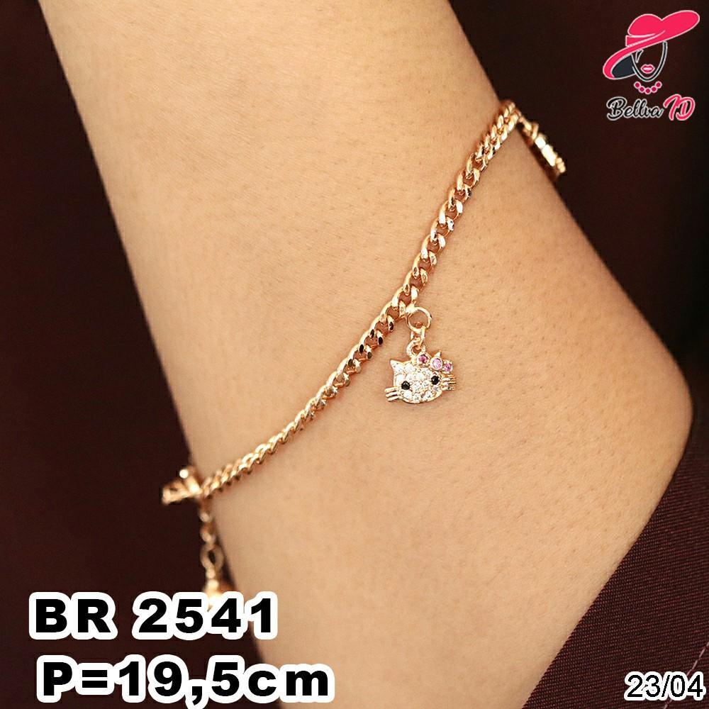 Gelang Rantai Emas Hello Kitty Simple Lapis Permata Branded R 2541