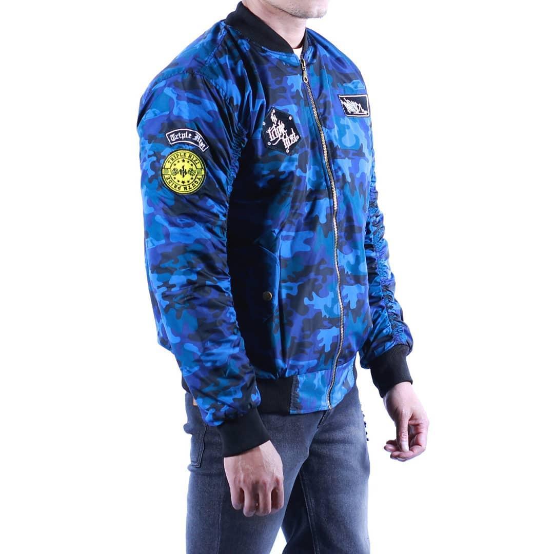 Detail Gambar Jaket Bomber Pria Terbaru - Triple Hizi Army Blue Terbaru