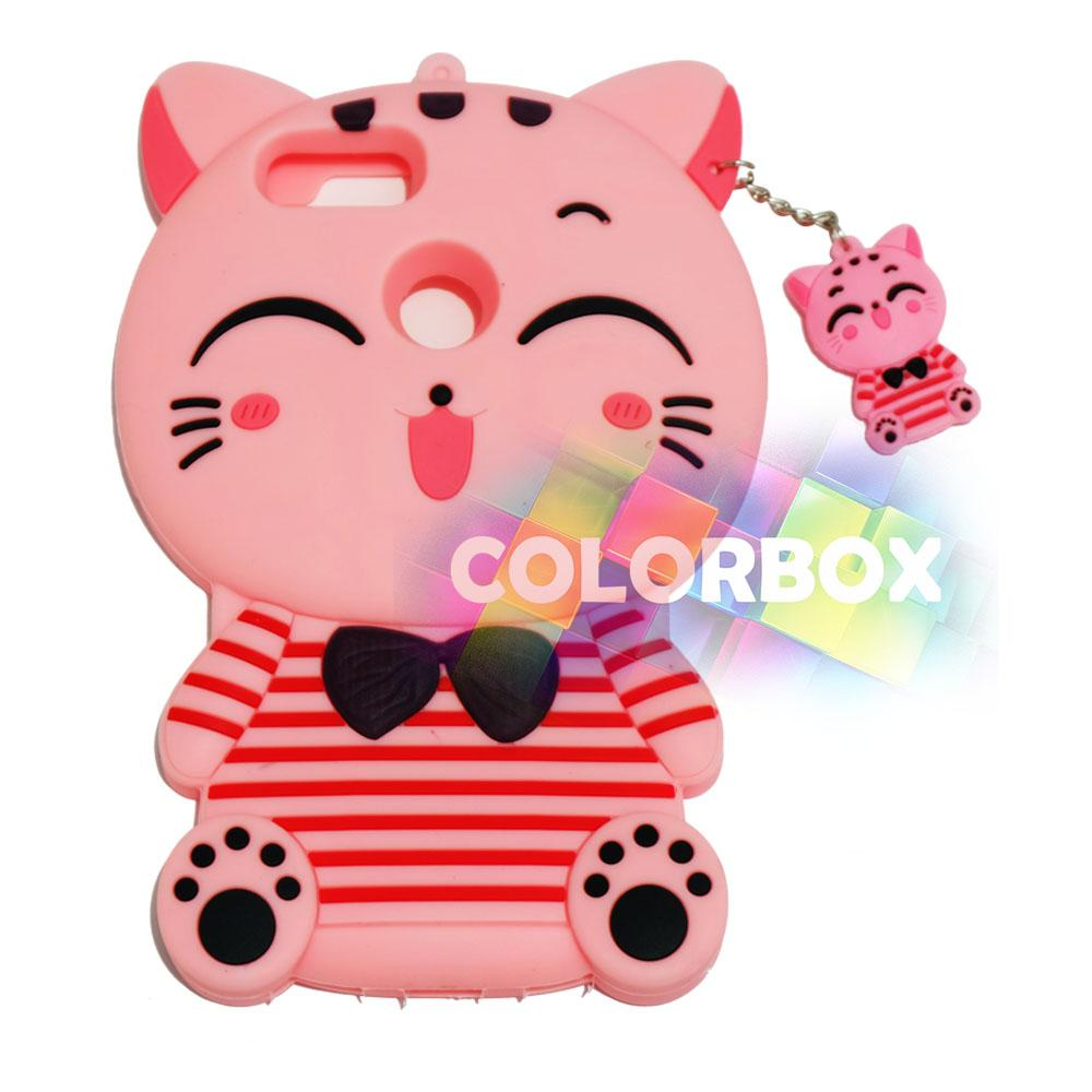 MR Soft Case 3D Xiaomi Mi A1 Pink Cat Red Horizontal Line / Silikon 3D Xiaomi Mi A1 / Softcase Kartun / Jelly Case / Case Hp Unik / Casing Silicone Xiaomi - Kucing Pink
