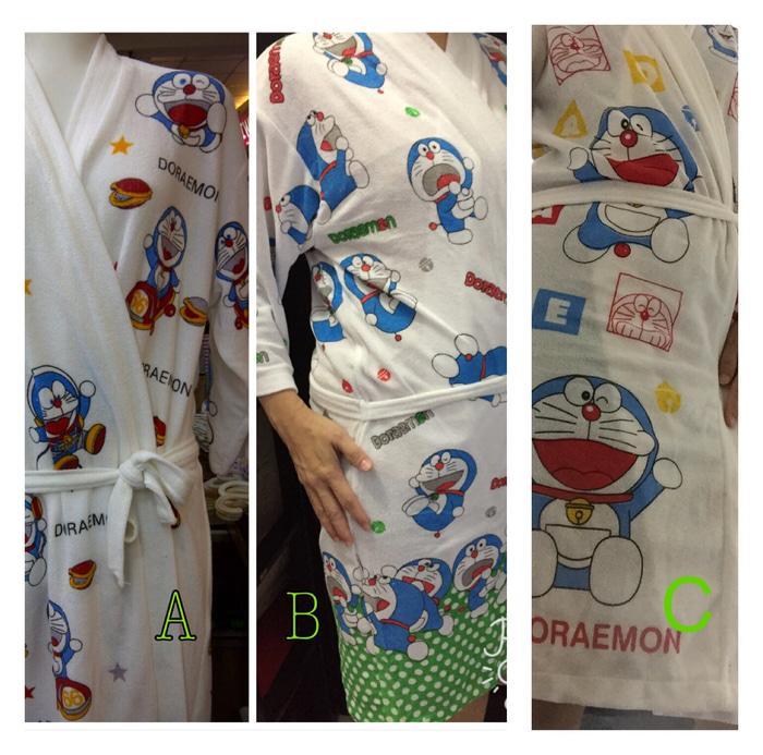 kimono Baju handuk dewasa dasar putih sablon Doraemon - l0QnP6