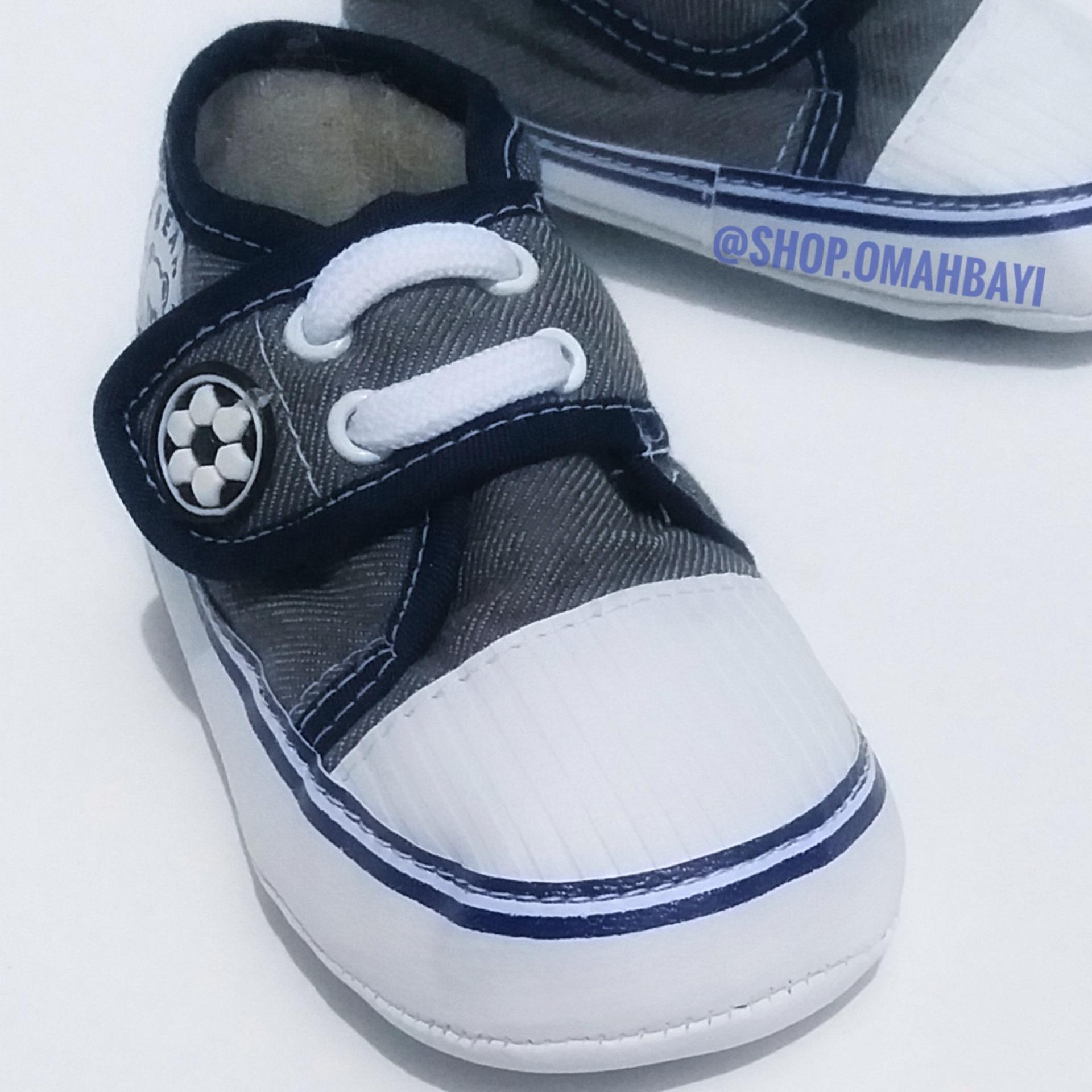 OMAHBAYI - Sepatu Bayi Baru Lahir New Born Laki-Laki Anak Cowok 0-9 Bulan Lucu Murah Bahan Lembut Motif Jeans Polos