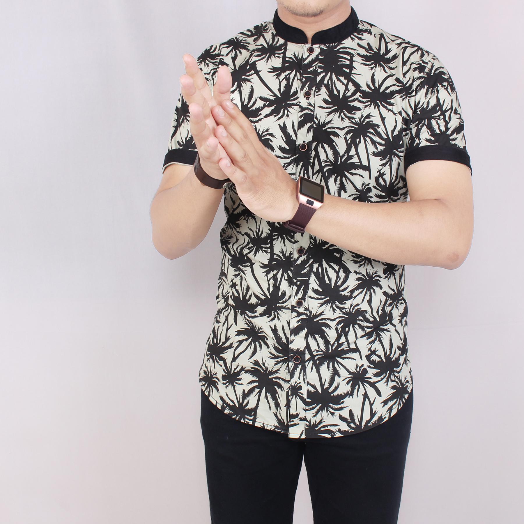 Zoeystore1 5614 Kemeja Printing Pria Lengan Pendek Exclusive Baju Kemeja Print Cowok Kerja Kantoran Formal Kemeja Distro Kerah Sanghai Wheat Coconut