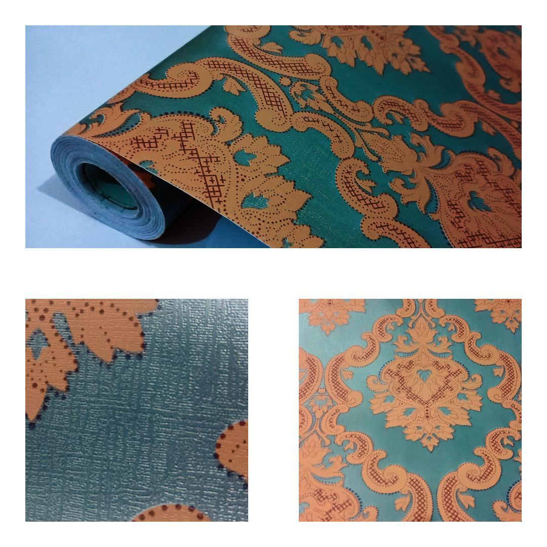 Grosir murah wallpaper sticker dinding kamar ruang indah hijau tua batik coklat tua garis garis merah