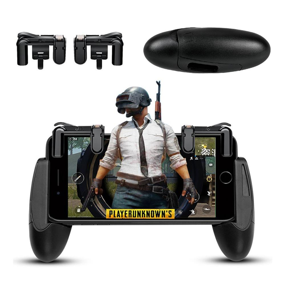 1Set Gamepad Grip Extended Handle and PUBG ROS Eat Chicken Shooting Games Shortcut Key L1R1 Joysticks Trigger Fire Button Aim Key Controller Accessories For Survival Game, Rules Of Survival, Last Battle Ground, Survivor Royale, Free Fire -Intl