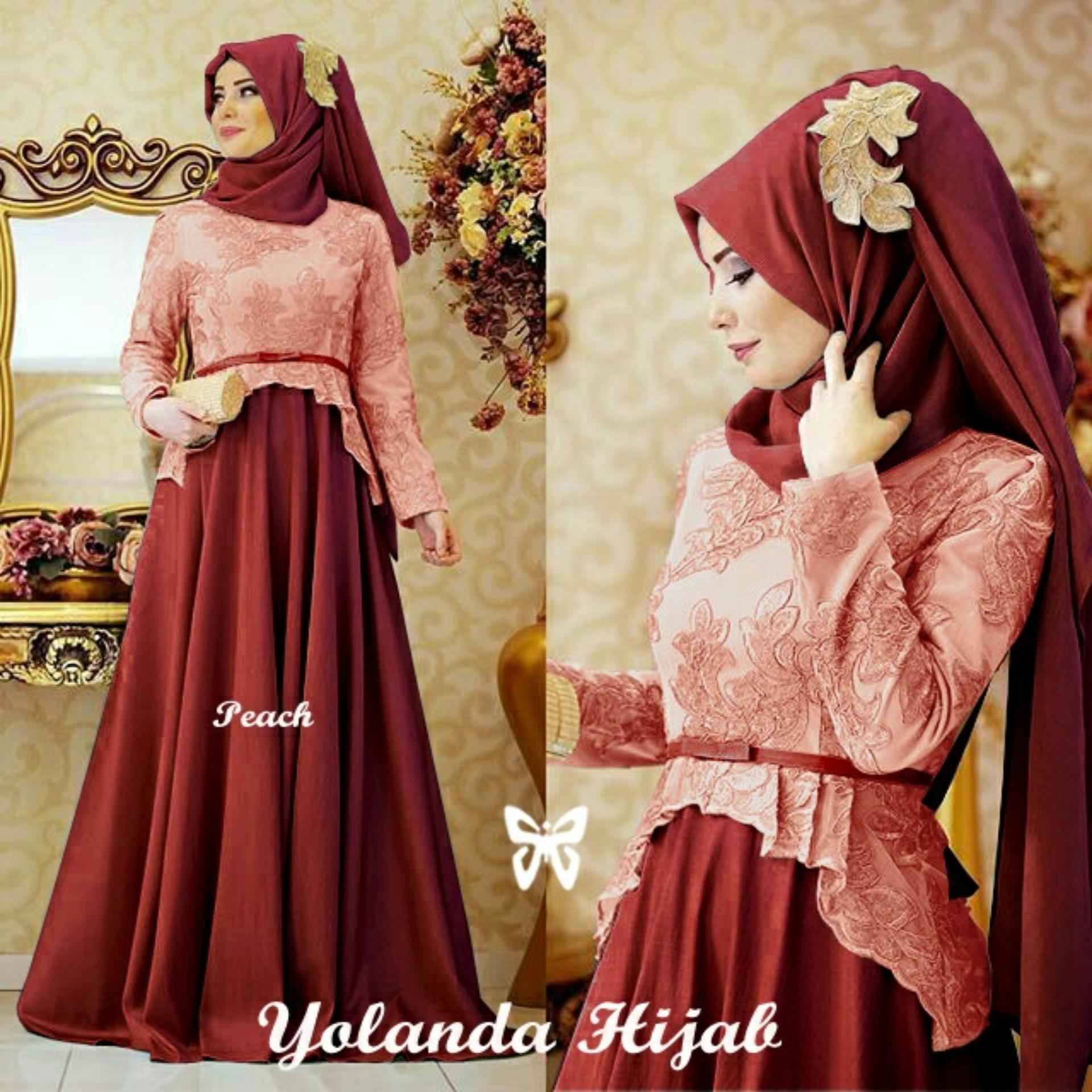 [Best Seller] Dress Gamis Remaja Muslimah  Amirah / Hijab Muslim / Muslim Syari Syar'i Hijab  / Busana Muslim Wanita / Kebaya Modern (landayo) SS - Peach Maroon D2C