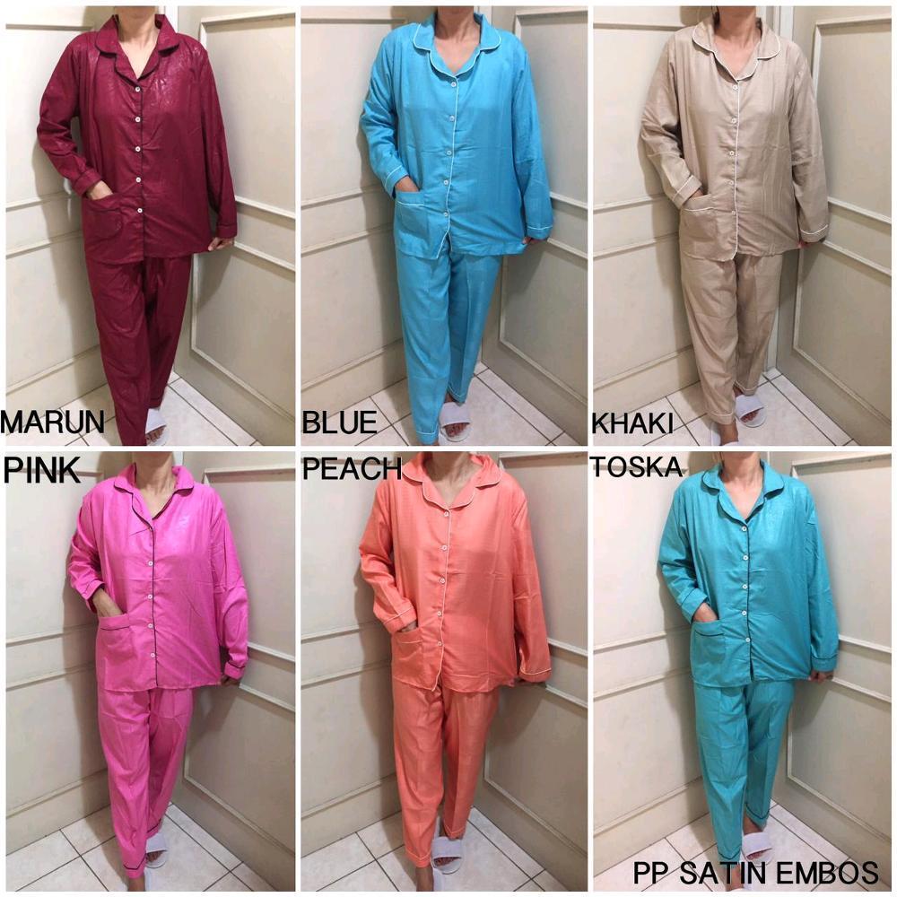 Baju Tidur Atau Santai Berbahan Satin Premium Busana Santai Bahan Satin Polos Lengan Panjang ( All Size )