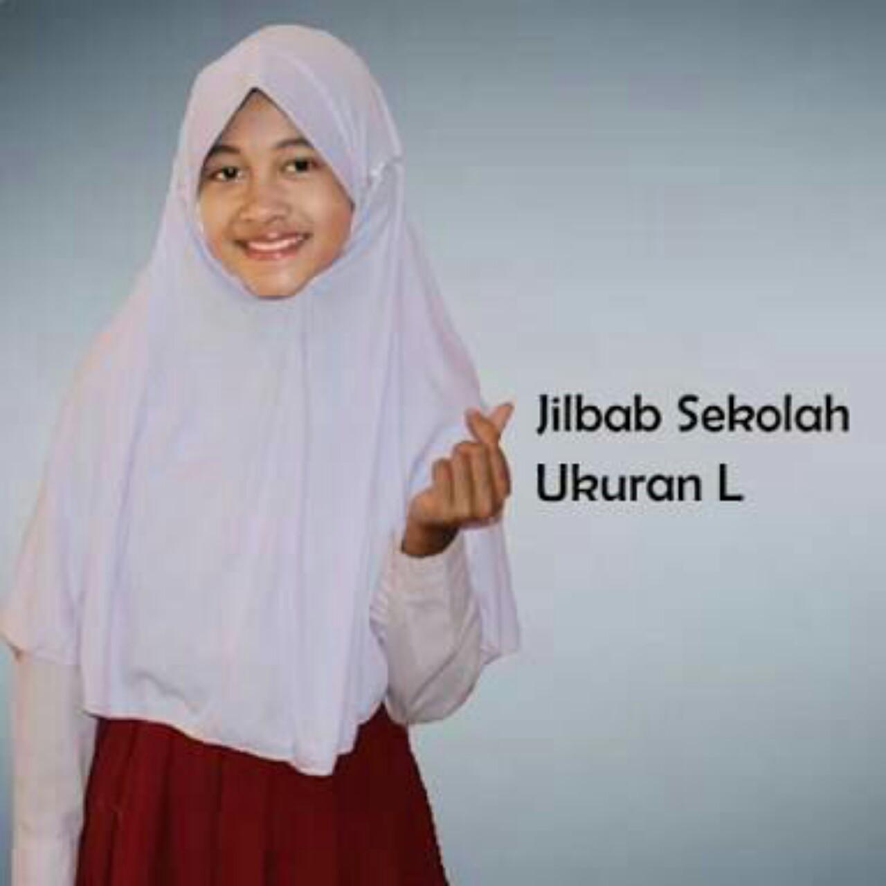 Jilbab anak sekolah ukuran L