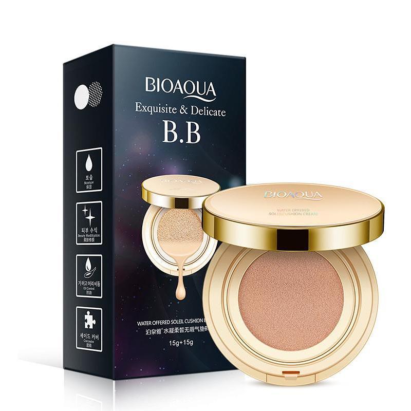 Bedak Bioaqua Dus Hitam BB Cream Cushion Whitening No. 3 Light White