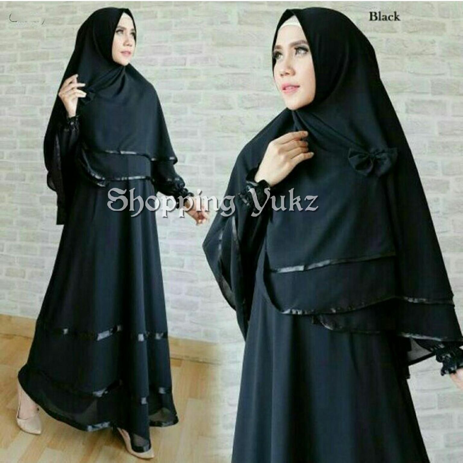 Shopping Yukz Baju Gamis Muslim Syari FITRI - HITAM ( Dapat Jilbab ) /Dress Muslim / Fashion Muslim / Baju Muslimah / Gaun Muslim / Gamis Wanita / Hijab Muslim/ Gamis Murah