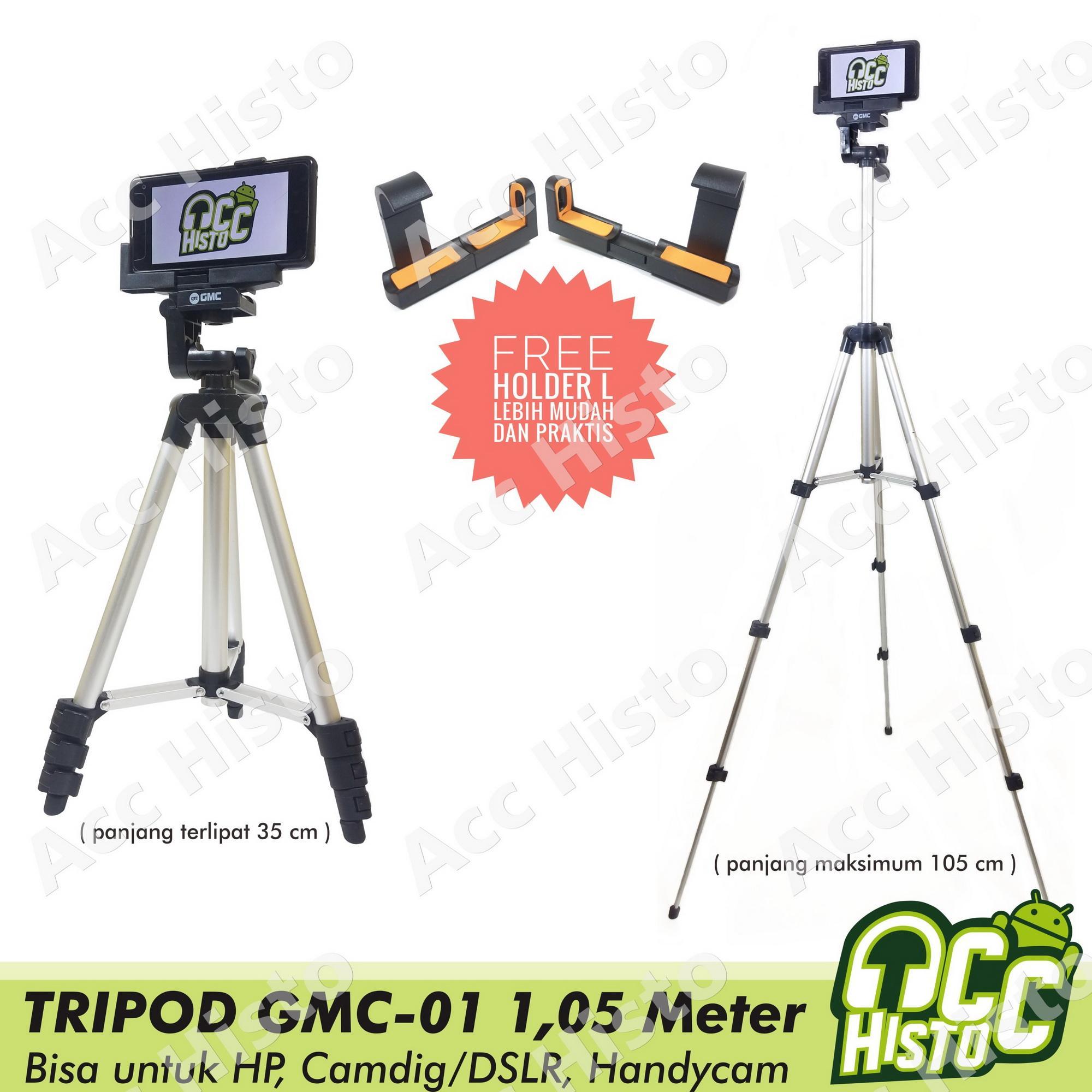 Tripod GMC Tinggi 1M / Meter + Holder L Premium Bisa Buat HP / Camera Digital / Handycam / DSLR
