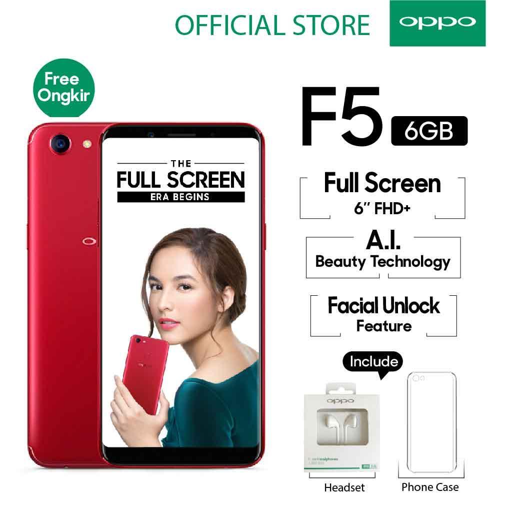 Oppo F5 Smartphone 20 MP AI Beauty Tech 6GB/64GB Red - (Cicilan TANPA Kartu Kredit, Cicilan 0%)