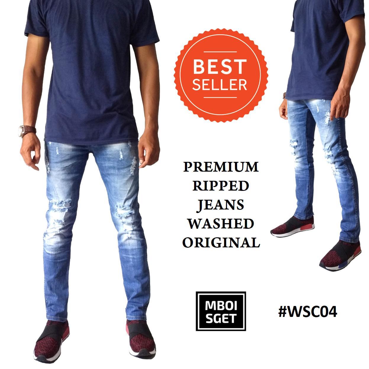 Mboisget WSC04 Wiscer Jeans Original Brand Celana Panjang Jeans Pria Cowok Premium Ripped Washed Sobek Slimfit Skinny Street Pensil