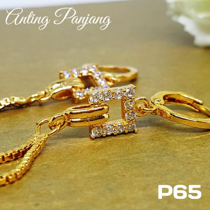 P65 Anting Rumbai Panjang Xuping  - Perhiasan Lapis Emas 18K