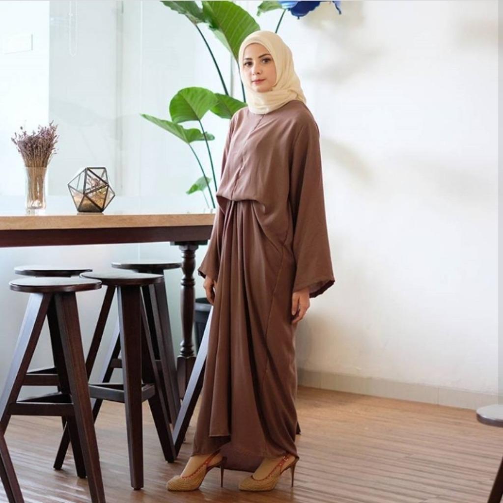 LETICIA gamis kondangan semi kaftan wanita long basic dress hijab salur