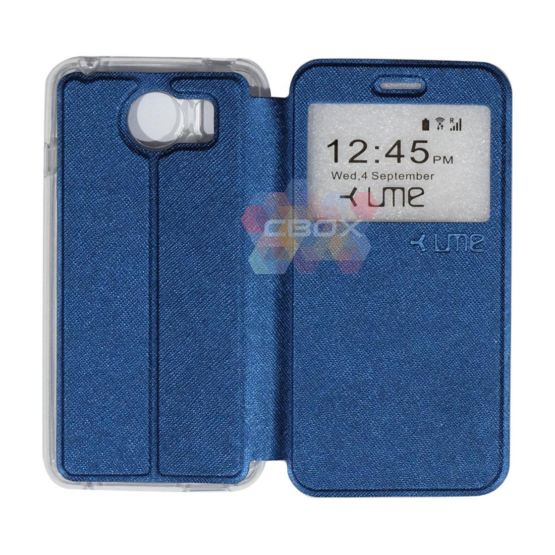 Ume Flipshell Leather Phone Himax M1 Sarung Case / Flipshell Ume Himax M1 / Flipcover Ume Himax M1 / Leather Case Ume Himax M1 / Sarung HP Himax M1 / Flipshell Himax M1 / Flipcover Himax M1 / Casing Himax M1 - Biru Tua