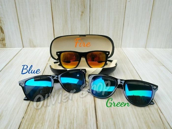 Kacamata Hitam Anak Bayi Bulat Lensa Biru Fire Mirror