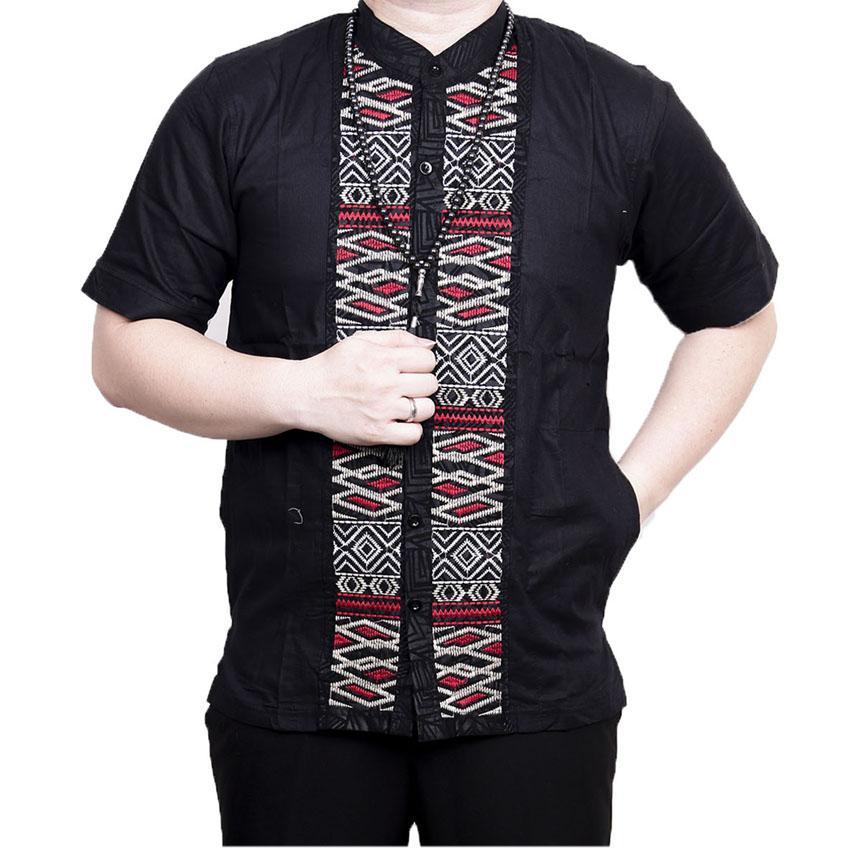 Ormano Baju Koko Muslim Batik Bordir Lengan Pendek Lebaran Hari Raya Pengajian ZO17 KK90 Kemeja Fashion Pria Corak Masa Kini Modern Size L