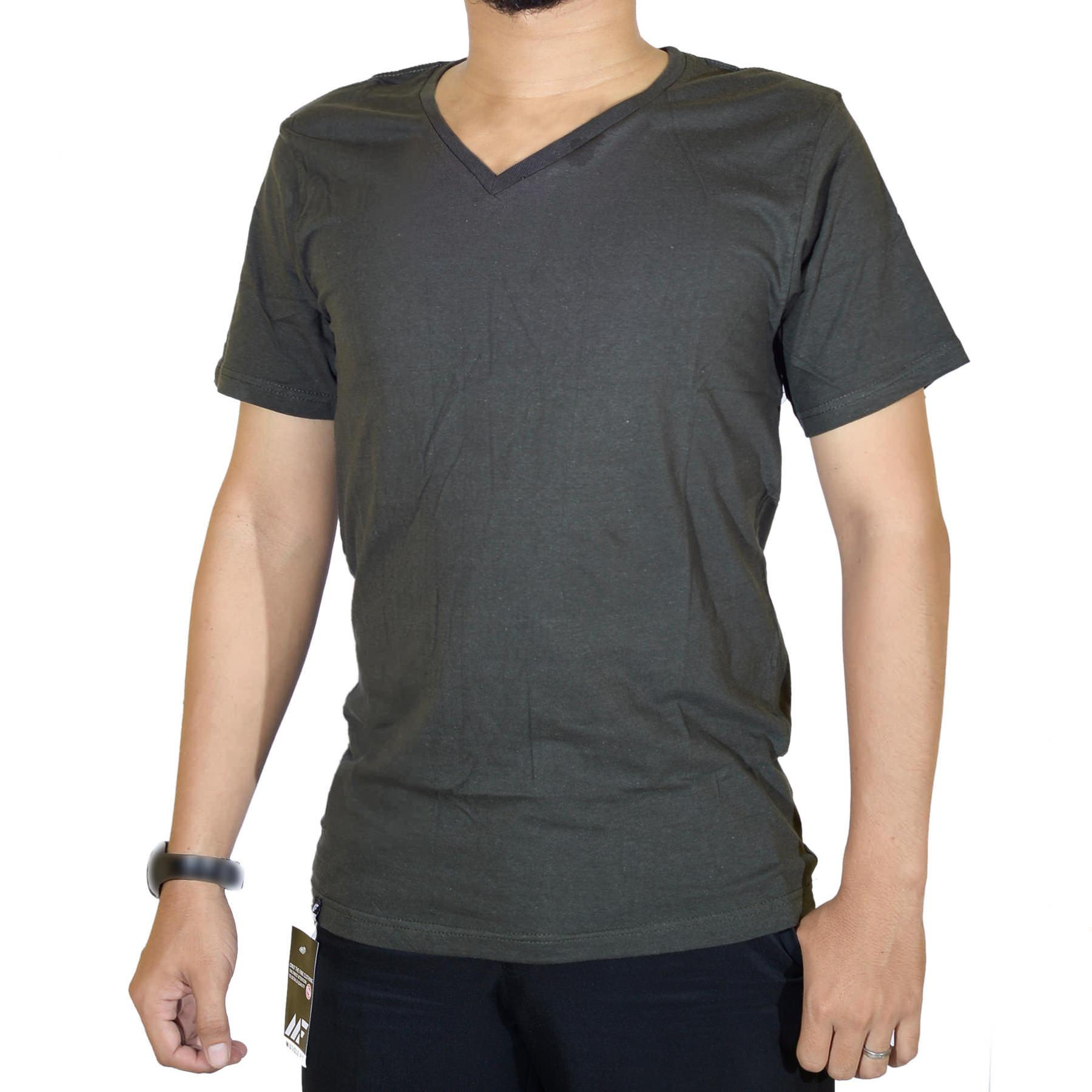 Muscle Fit Kaos Polos T-shirt V-neck Lengan pendek Cotton -DVT.0013-OLIVE