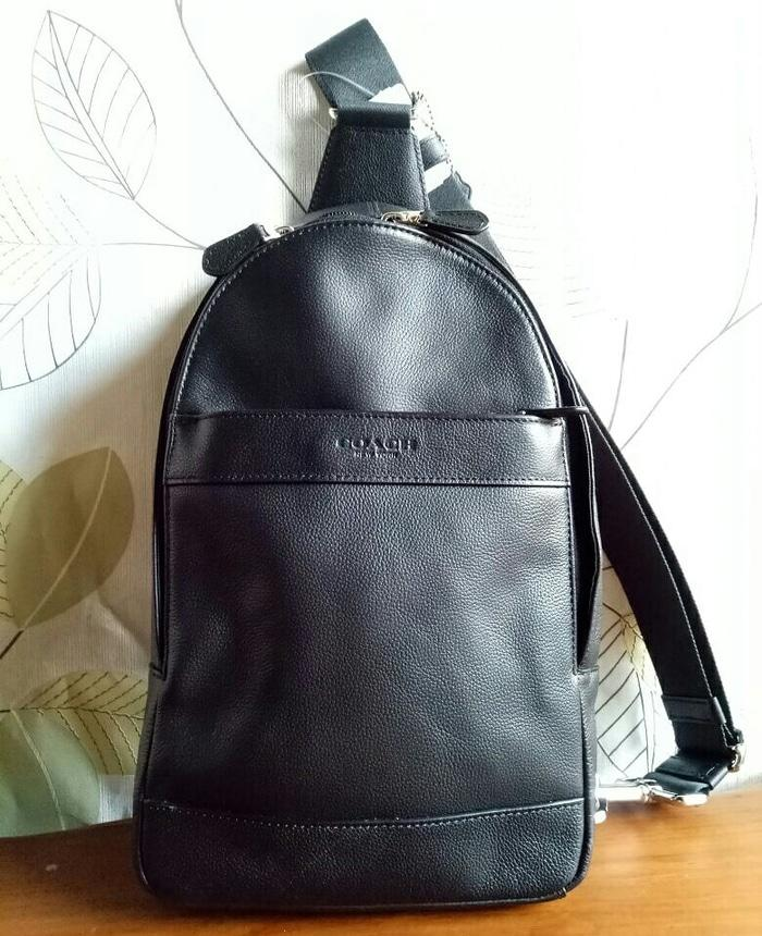 Coach Polgan Men Backpack Bag Black Leather . Tas Pria Coach Original