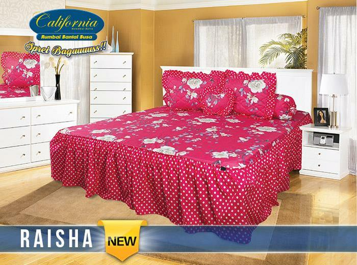 SPREI CALIFORNIA RUMBAI RAISHA No.1 KING 180 SEPRAI REMPEL POLKADOT Exclusive - TOKO GUDANG