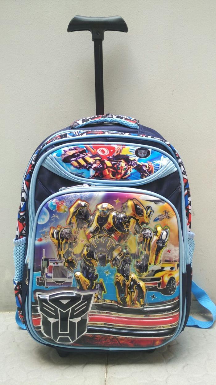 Fitur Tas Ransel Sekolah Anak Sd Transformer Bumbleebee Hard Cover I Trolley Transformers Trolly Laki Timbul Impor Navy