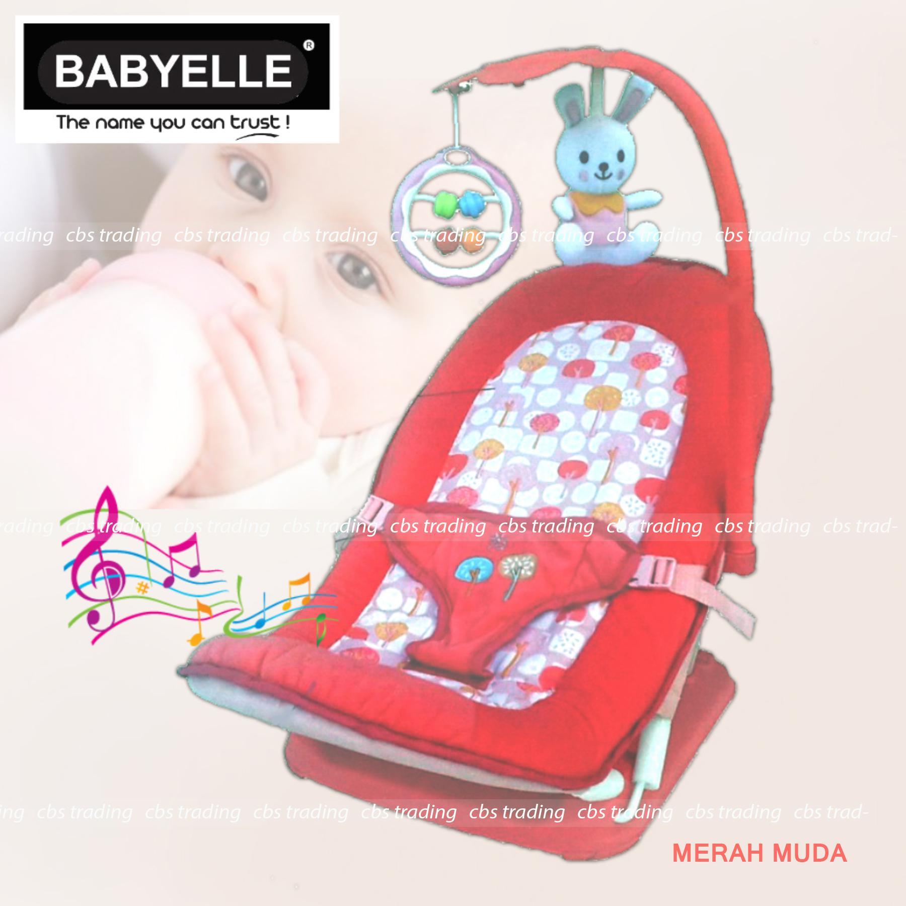 Babyelle Fold Up Infant Seat (No Box) With Melodies And Soothing Vibrations - Baby Elle Kursi Lipat Bayi - (NBX) - Merah Muda