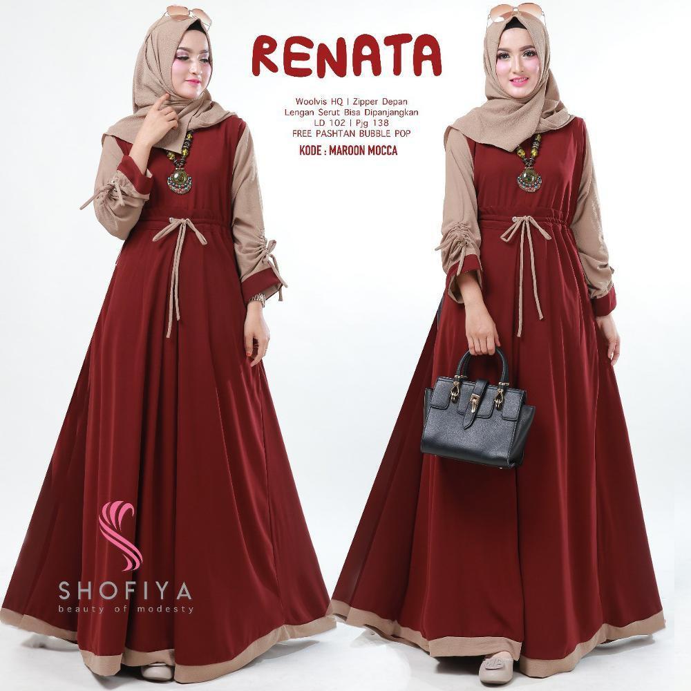 Baju Muslim Original Gamis Renata Dress Baloteli  Muslim Panjang Dress Casual Wanita Pakaian Hijab Modern Baju Gamis Modis Trendy Gaun Terbaru