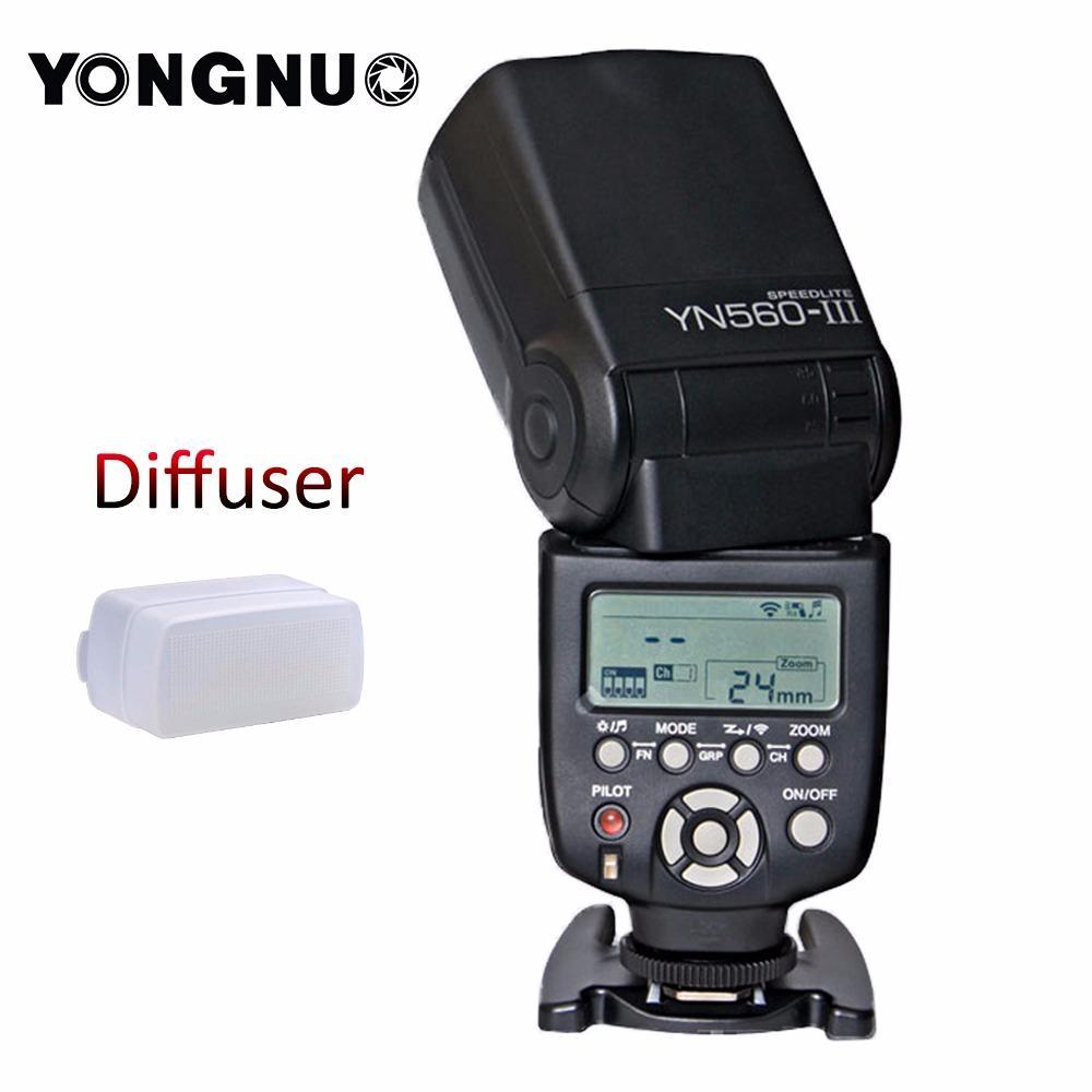 Yongnuo YN-560 III Flash Speedlite untuk Canon Nikon DSLR Kamera +Diffuser
