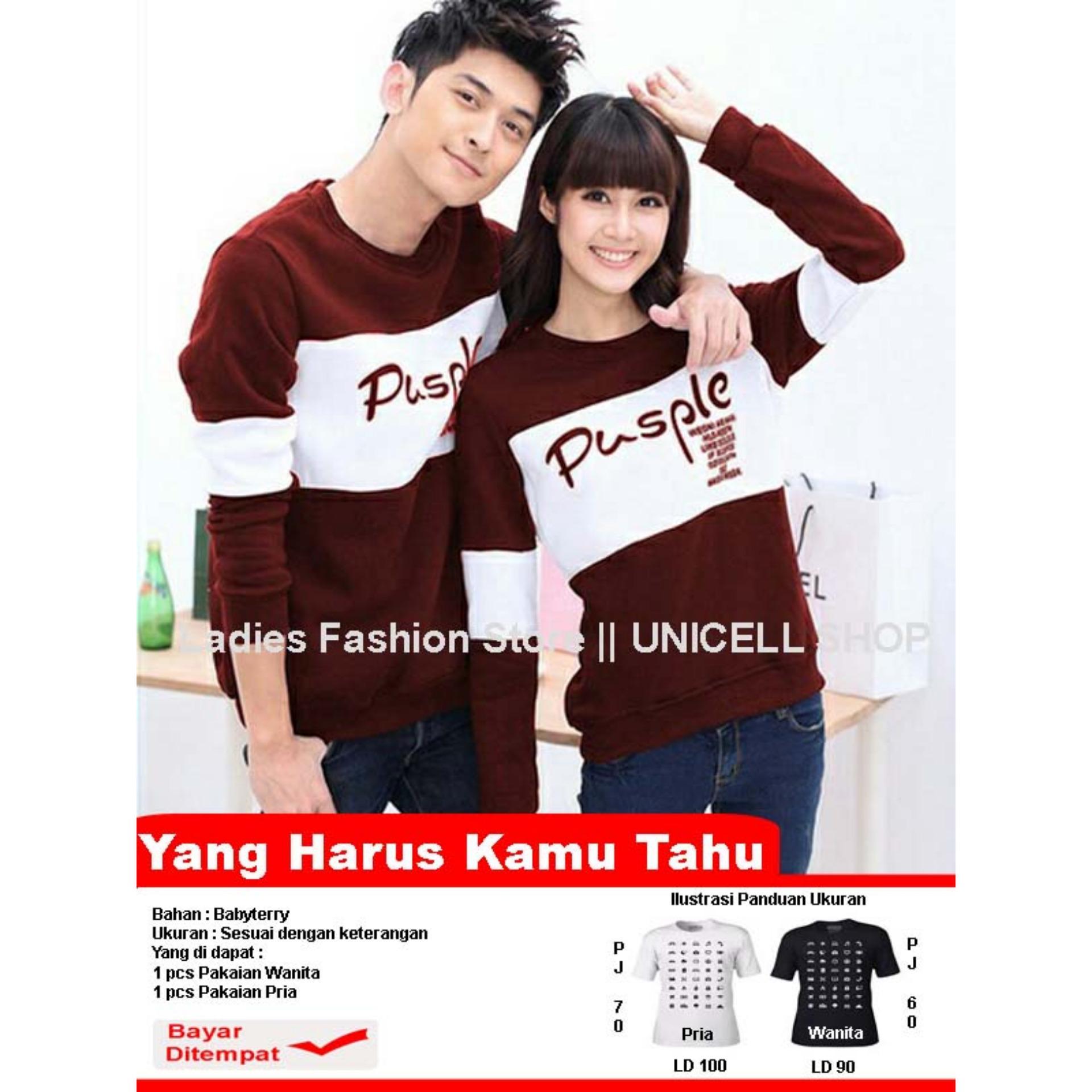 Baju Wanita Shop Kaos Couple lengan Panjang  Pusple / Kaos Oblong  / Cotton Combed Pasangan / T-shirt Pasangan / Pakaian Kembar / Kaos Pria Wanita LC - Maron