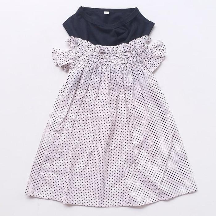 New  Dress Baju Anak Perempuan Cewek Import Sabrina Kerut Hitam Putih Dot