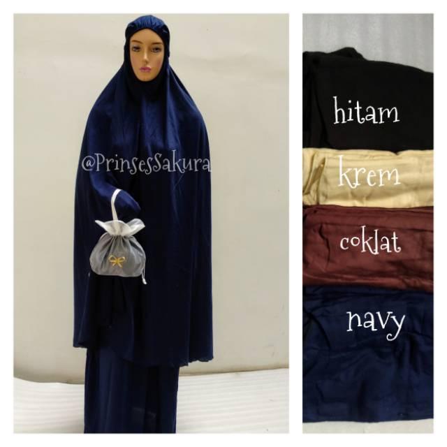 Muken Rayon polos panjang wanita / mukena Bali Polos manset tangan jumbo wanita muslimah Cream