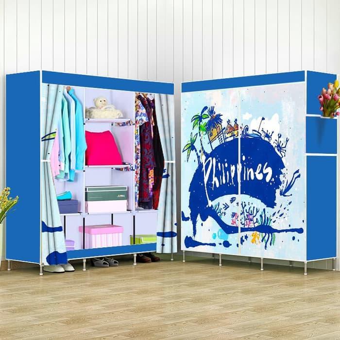 Lemari Pakaian / Lemari Portable / Lemari Pakaian Murah / 3019 BLUE Multifunction Wardrobe lemari pakaian rak baju MEGAHOME