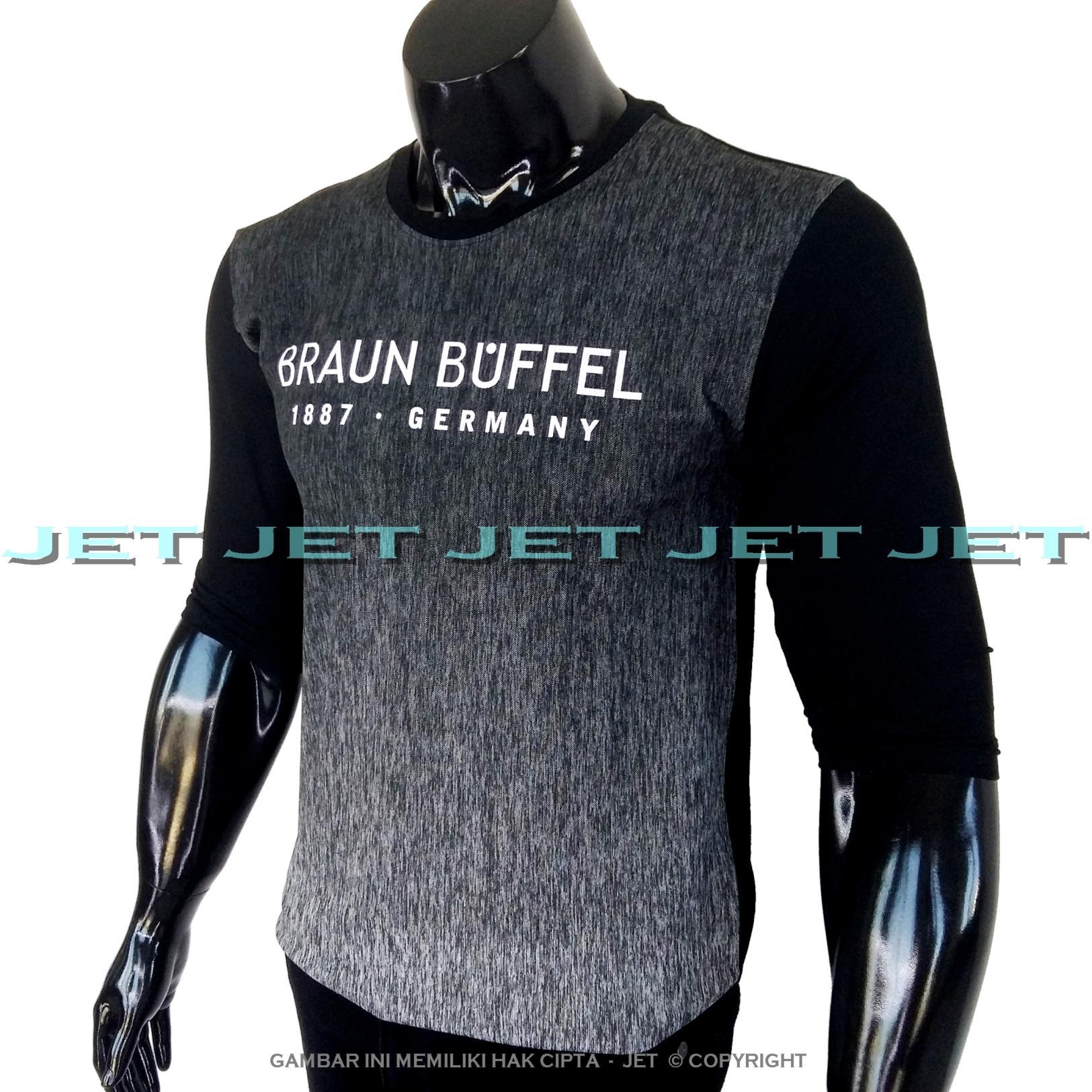 JET - Kaos Distro BRAUN BUFFEL Gradasi Lengan 3/4 Panjang Soft Rayon Viscose Blended Lycra Size M Fit To L Pria / Wanita Garis Salur Motif Visual Art